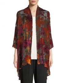 Caroline Rose Plus Size Evening Bouquet Velvet Burnout Cardigan at Neiman Marcus