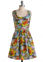 Carrie's comic print dress at Modcloth
