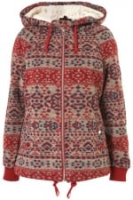 Carrie's red aztec jacket at Topshop at Topshop