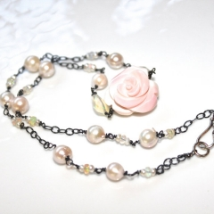 Carved Rose Necklace by FizzCandy at Etsy