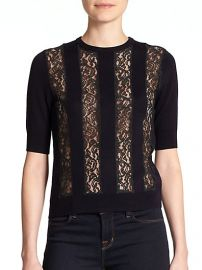 Carven - Wool Lace-Panel Sweater at Saks Fifth Avenue
