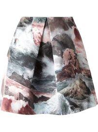 Carven Front Pleat Ocean Print Skirt - Oand39 at Farfetch