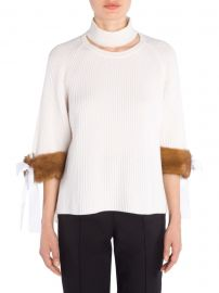Cashmere Mink-Cuff Knit Sweater at Saks Fifth Avenue