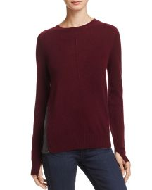 Cashmere Side-Zip Contrast-Inset Sweater at Bloomingdales