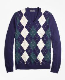 Cashmere Argyle V-Neck Sweater at Brooks Brothers