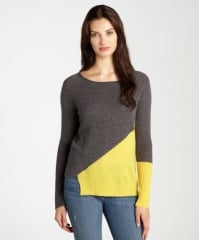 Cashmere Colorblock Cutout Hem Sweater at Bluefly