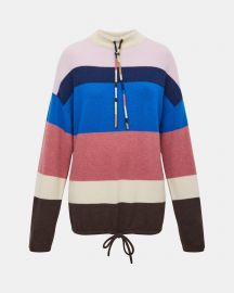 Cashmere Striped Mock Neck Pullover at Theory