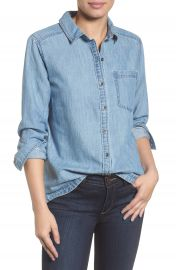 Caslon   Button Front Chambray Shirt  Regular  amp  Petite    Nordstrom at Nordstrom