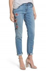 Caslon   Embroidered Skinny Boyfriend Jeans at Nordstrom
