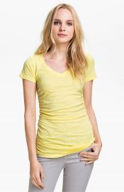 Caslonand174 Shirred V-Neck Tee in yellow at Nordstrom
