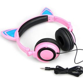 Cat Ear Headphones with Glowing Lights at Amazon