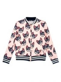Cat print bomber jacket at Choies