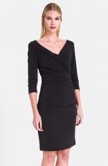 Catherine Catherine Malandrino Celine Surplice Dress in black at Nordstrom