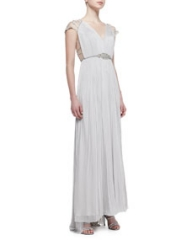 Catherine Deane Jewel-Belted Silk Lace-Sleeve Gown at Neiman Marcus