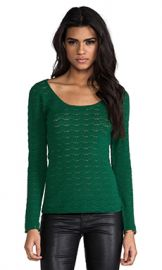 Catherine Malandrino Abbey Pointelle Top in Pine from Revolve com at Revolve