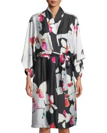 Cattleya Floral-Print Satin Robe at Neiman Marcus