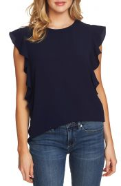 CeCe Cascading Ruffle Blouse in Navy at Nordstrom