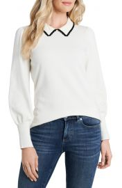 CeCe Collared Bishop Sleeve Cotton Blend Sweater   Nordstrom at Nordstrom