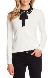 CeCe Embellished Collar Tie Neck Sweater   Nordstrom at Nordstrom