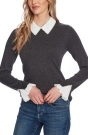 CeCe Imitation Pearl Peter Pan Collar Cotton Sweater   Nordstrom at Nordstrom