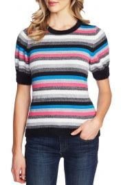 CeCe Metallic Stripe Short Sleeve Sweater   Nordstrom at Nordstrom