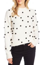 CeCe Pompom Mock Neck Sweater   Nordstrom at Nordstrom