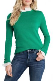 CeCe Ruffle Detail Cotton Blend Sweater   Nordstrom at Nordstrom