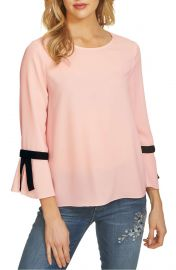 CeCe Tie Bell Sleeve Blouse at Nordstrom