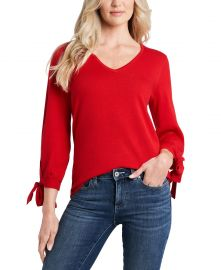 CeCe Tie-Sleeve V-Neck Sweater   Reviews - Sweaters - Women - Macy s at Macys