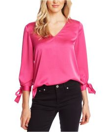 CeCe V-Neck Satin Blouse With Tie Sleeves   Reviews - Tops - Women - Macy s at Macys