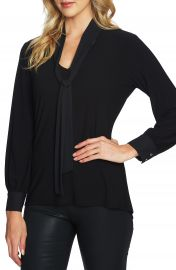 CeCe Chiffon Tie Neck Knit Top at Nordstrom