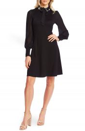 CeCe Embellished Collar Tie Neck Long Sleeve Dress   Nordstrom at Nordstrom