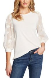 CeCe Lace Sleeve Stretch Crepe Blouse   Nordstrom at Nordstrom