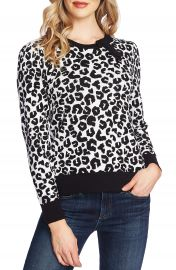 CeCe Leopard Cotton Sweater   Nordstrom at Nordstrom