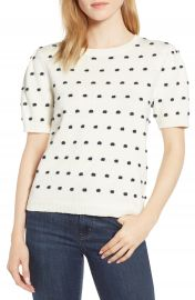 CeCe Mini Pompom Puff Sleeve Sweater at Nordstrom