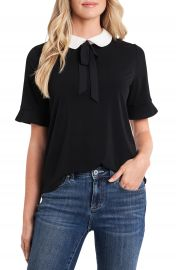 CeCe Peter Pan Collar Mixed Media Top   Nordstrom at Nordstrom