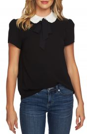 CeCe Ruffle Collar Short Sleeve Blouse   Nordstrom at Nordstrom
