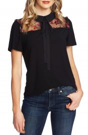 CeCe Tie Neck Embroidered Top   Nordstrom at Nordstrom