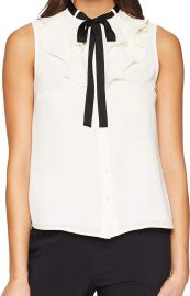 CeCe Women s Sleeveless Ruffled Top w Tie at Amazon