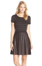 CeCe by Cynthia SteffeSage Metallic Fit and Flare Sweater Dress at Nordstrom