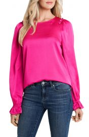 Cece textured satin long sleeve blouse at Nordstrom
