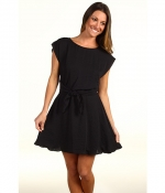 Ceces black Rebecca Taylor dress at 6pm