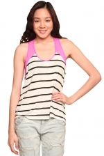 Ceces striped tank with pink back at Shoptiques