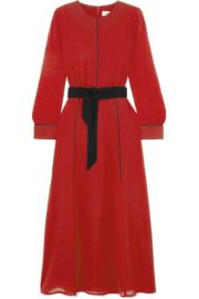 Cefinn - Belted voile midi dress at Net A Porter