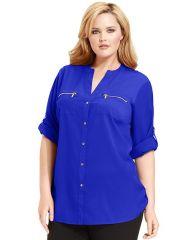 Celestial Plus Size Roll Tab Sleeve Shirt by Calvin Klein at Macys