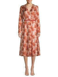 Cenere Abstract Floral Silk Belted Wrap Dress at Saks Fifth Avenue