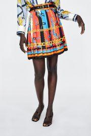 Chain Print Pleated Skirt at Zara