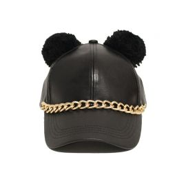 Chained Leather Hat with Pom Pom Ears at Jewelry Factory