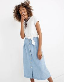 Chambray Patio Button-Front Midi Skirt at Madewell
