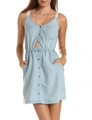 Chambray button front dress at Charlotte Russe